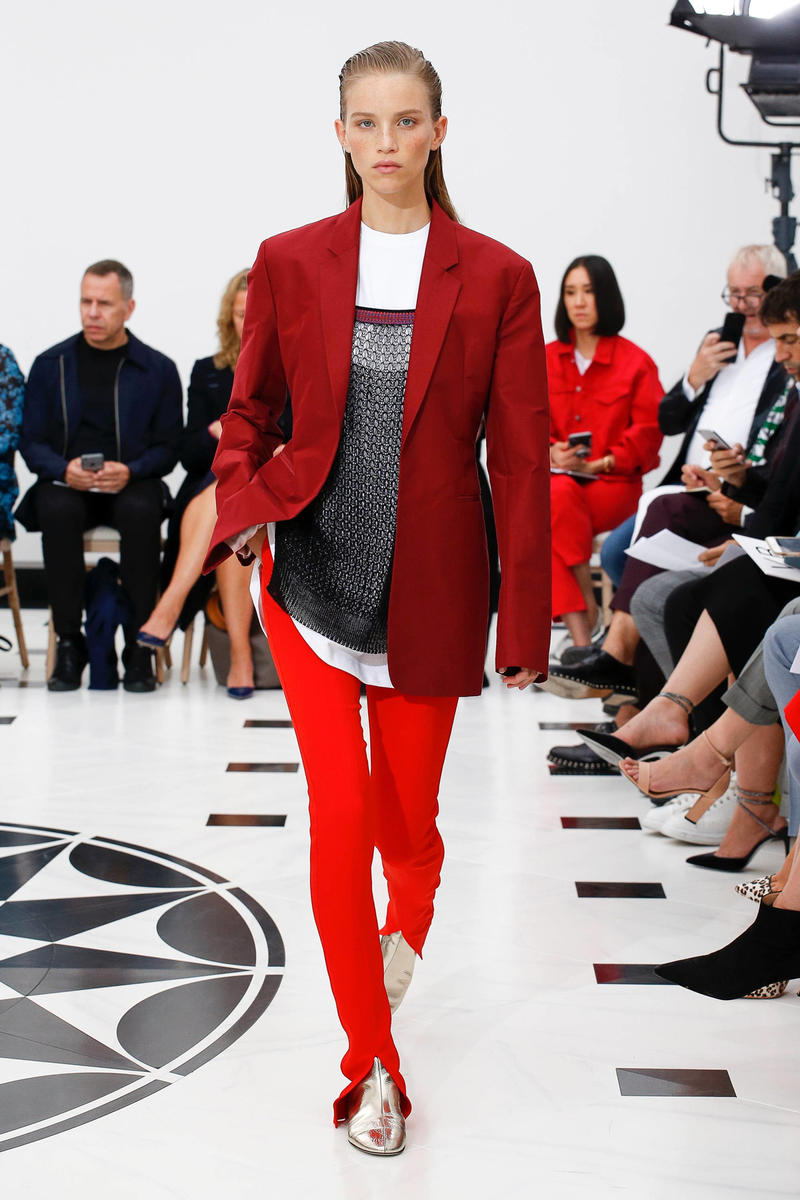 Victoria Beckham Spring Summer 2019 London Fashion Week Show Collection Blazer Maroon Shirt White Trousers Red