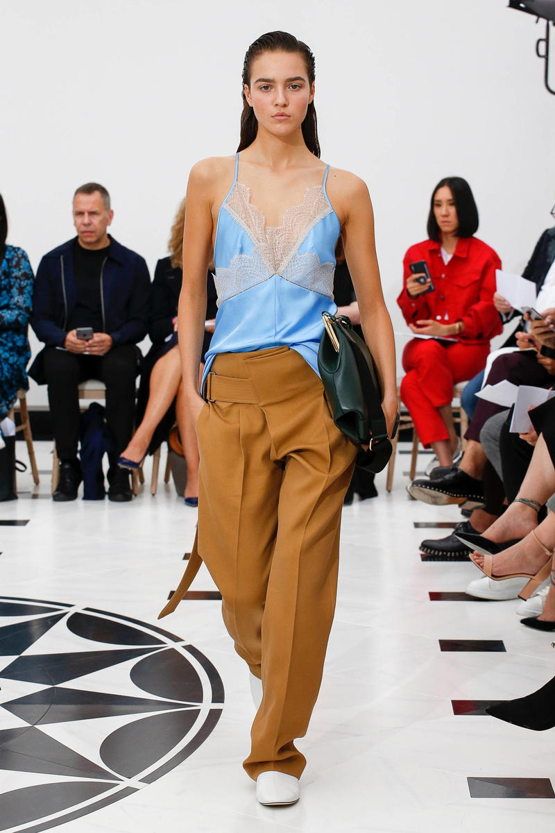 Victoria Beckham Spring Summer 2019 London Fashion Week Show Collection Top Blue Trousers Khaki