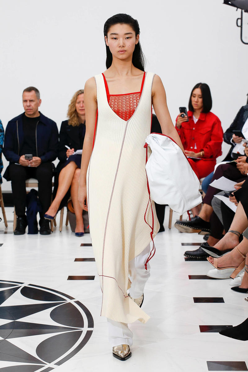 Victoria Beckham Spring Summer 2019 London Fashion Week Show Collection Dress Tan