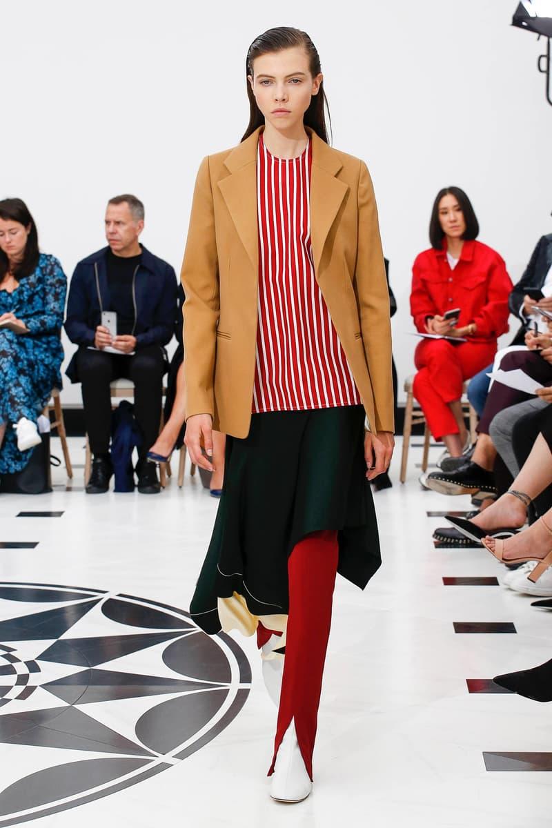 Victoria Beckham Spring Summer 2019 London Fashion Week Show Collection Blazer Tan Top Red Skirt Black