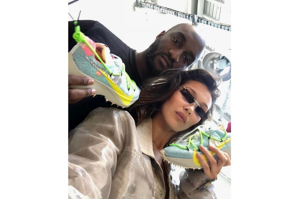 Virgil Abloh Bella Hadid Off-White Nike React Vapor Street Flyknit Paris Fashion Week Blue Green Pink
