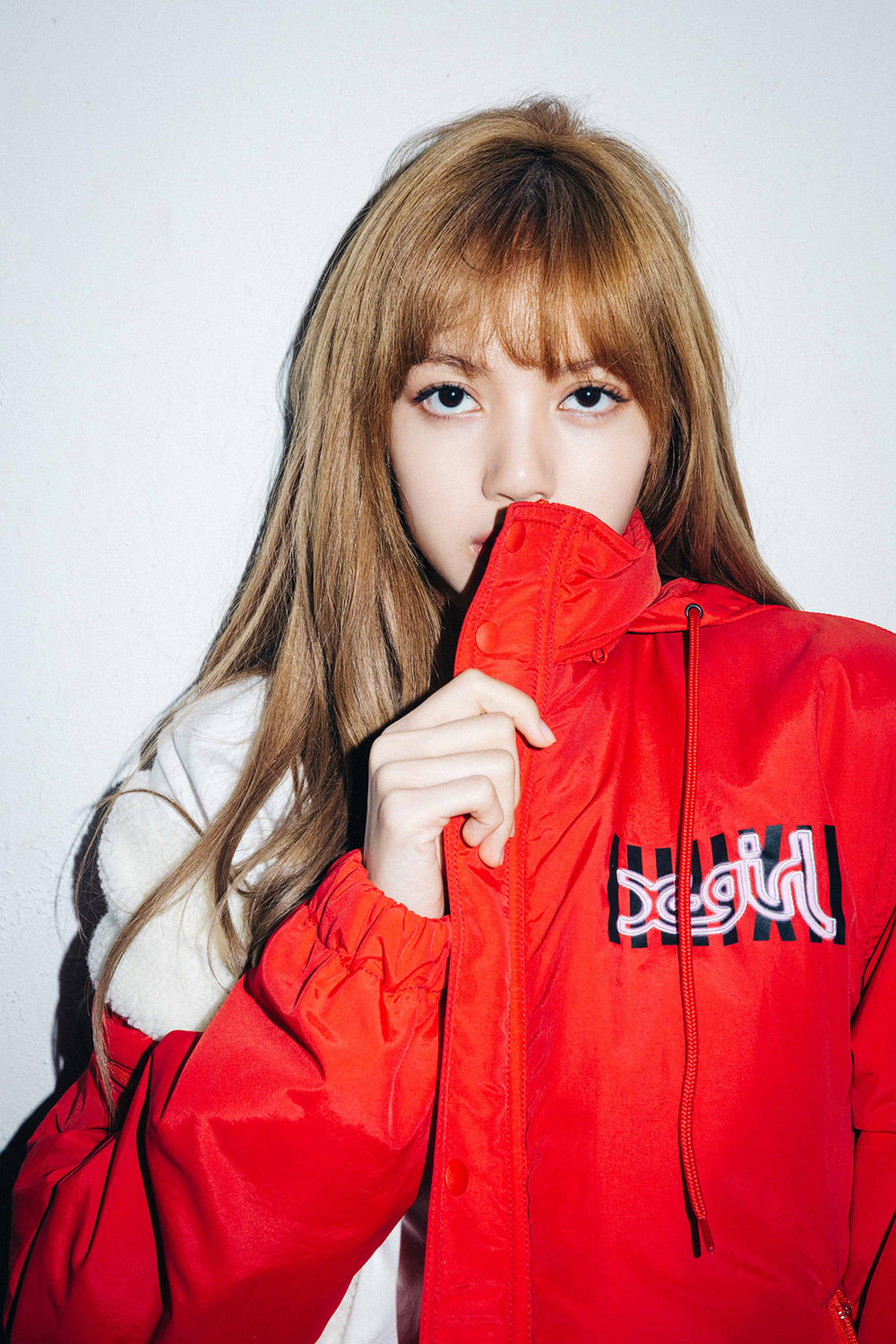 X-Girl Nonagon Blackpink Lisa Campaign Collaboration K-Pop Red Jacket Logo