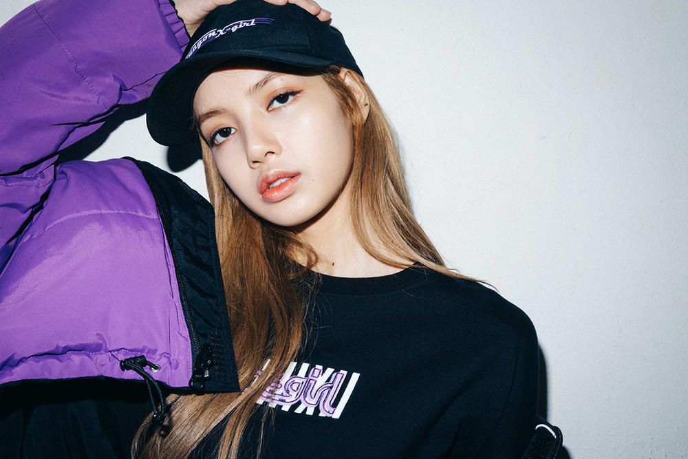 X-Girl Nonagon Blackpink Lisa Campaign Collaboration K-Pop Purple Jacket Black Cap T-Shirt