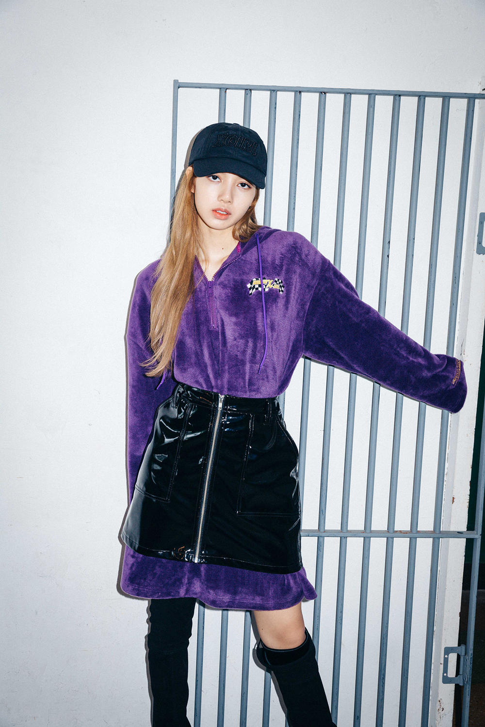 X-Girl Nonagon Blackpink Lisa Campaign Collaboration K-Pop Purple Black Hat Skirt