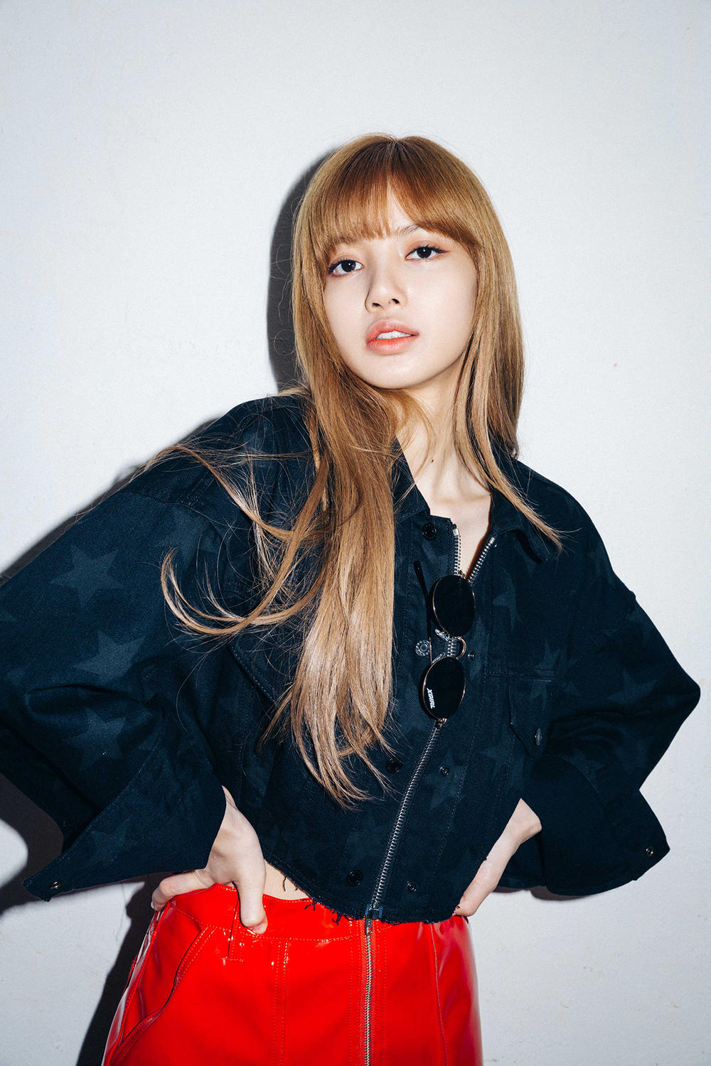 X-Girl Nonagon Blackpink Lisa Campaign Collaboration K-Pop Denim Jacket Red Vinyl Skirt
