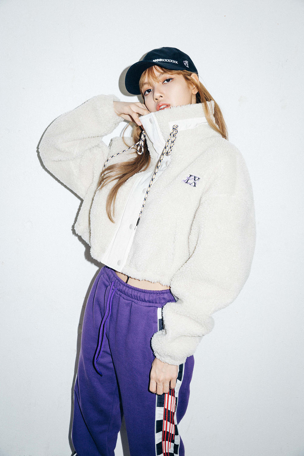 X-Girl Nonagon Blackpink Lisa Campaign Collaboration K-Pop White Jacket Purple Pants Black Cap