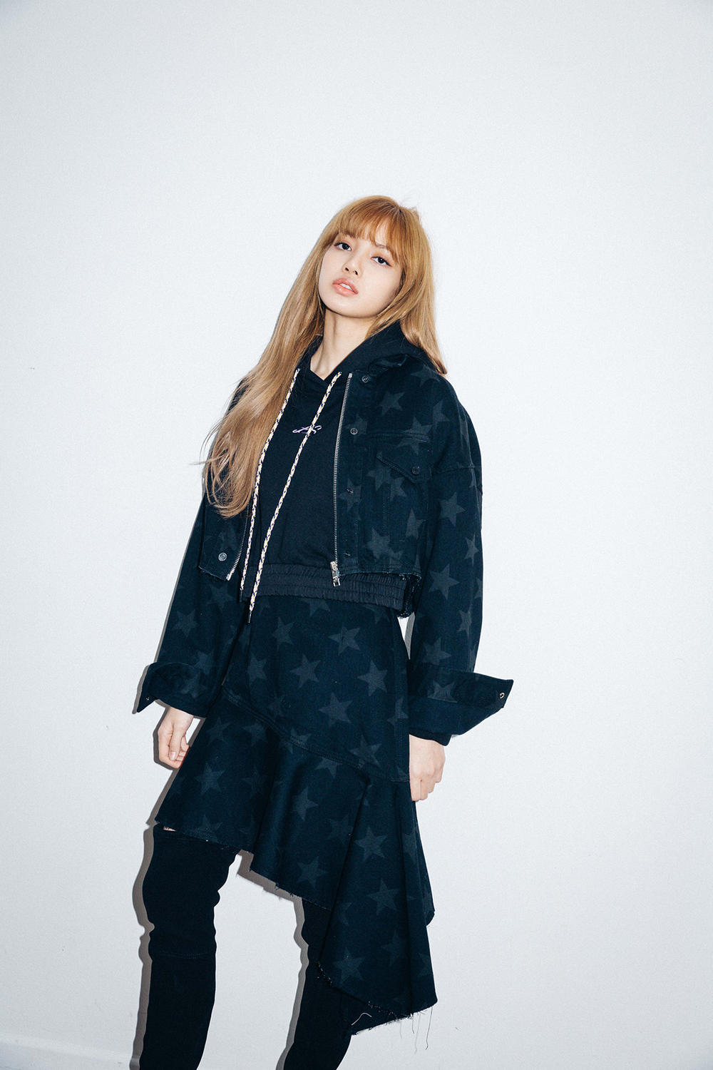 X-Girl Nonagon Blackpink Lisa Campaign Collaboration K-Pop Denim Jacket Skirt