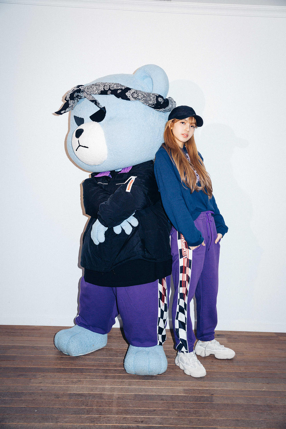 X-Girl Nonagon Blackpink Lisa Campaign Collaboration K-Pop Blue Hoodie Sweat Pants Bear