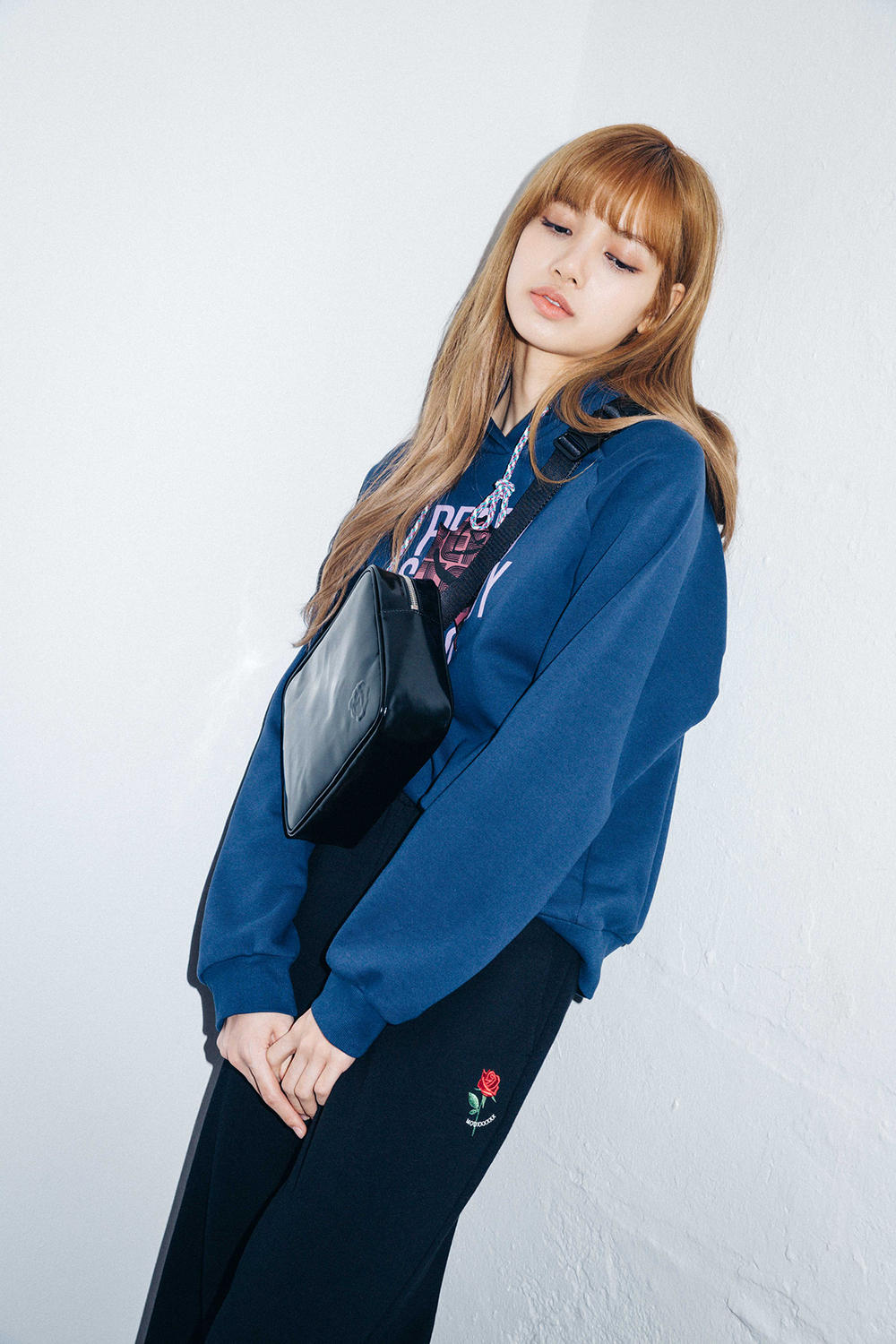 X-Girl Nonagon Blackpink Lisa Campaign Collaboration K-Pop Blue Hoodie Rose Sweat Pants