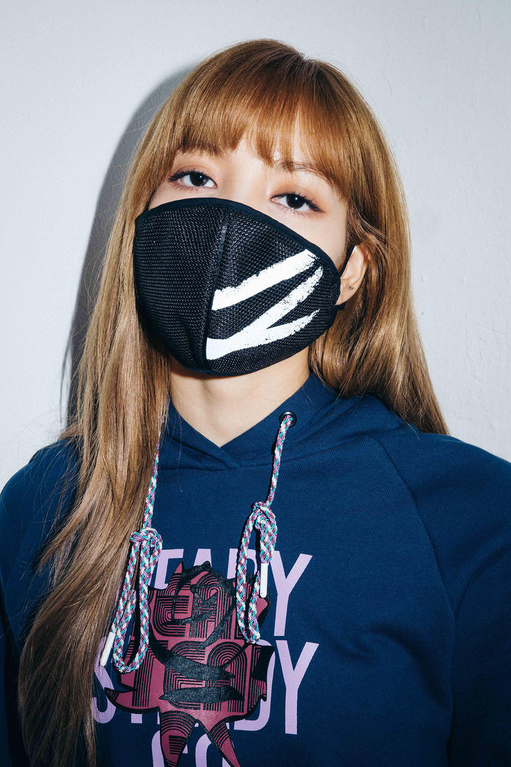 X-Girl Nonagon Blackpink Lisa Campaign Collaboration K-Pop Blue Hoodie Mask