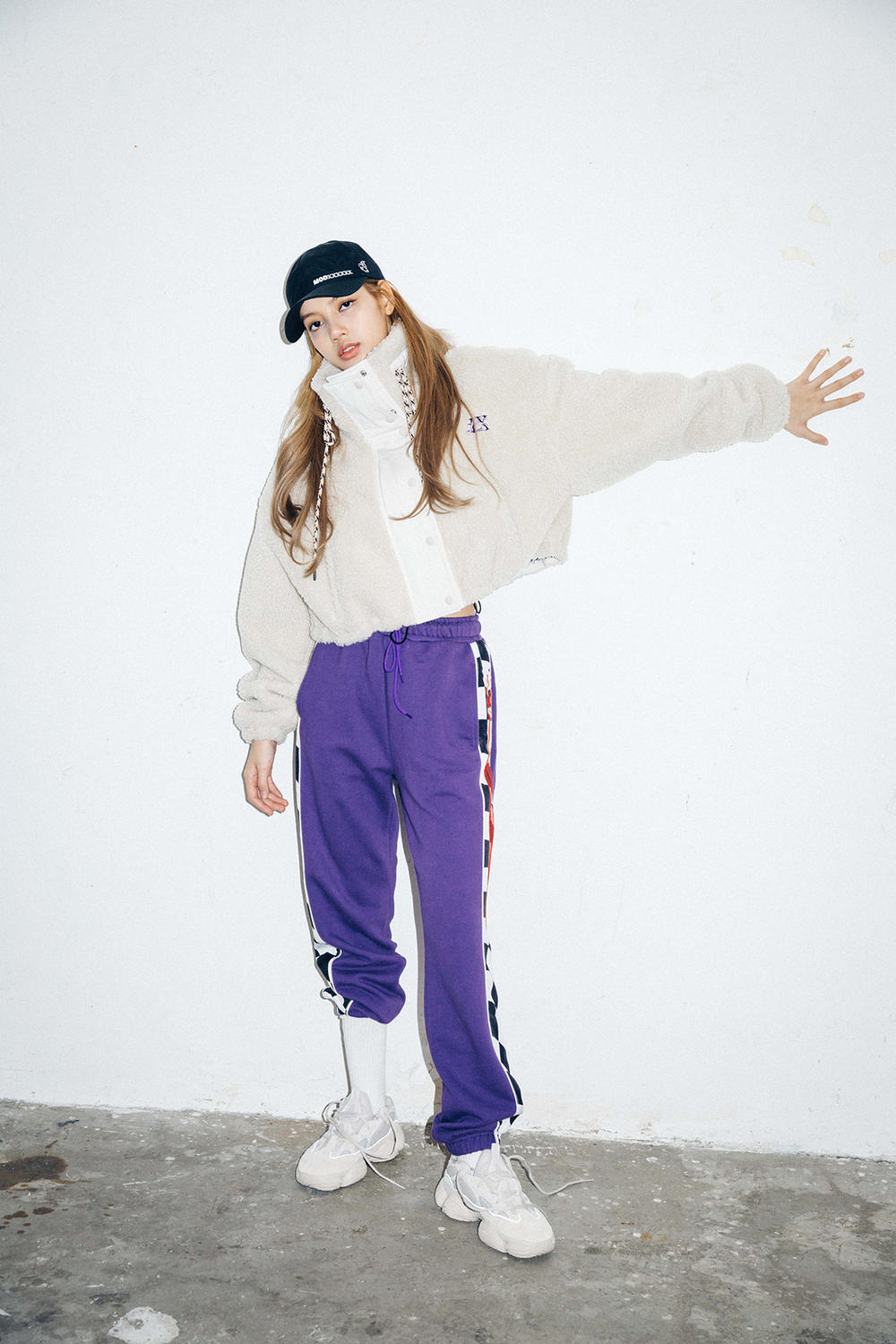 X-Girl Nonagon Blackpink Lisa Campaign Collaboration K-Pop White Jacket Purple Pants