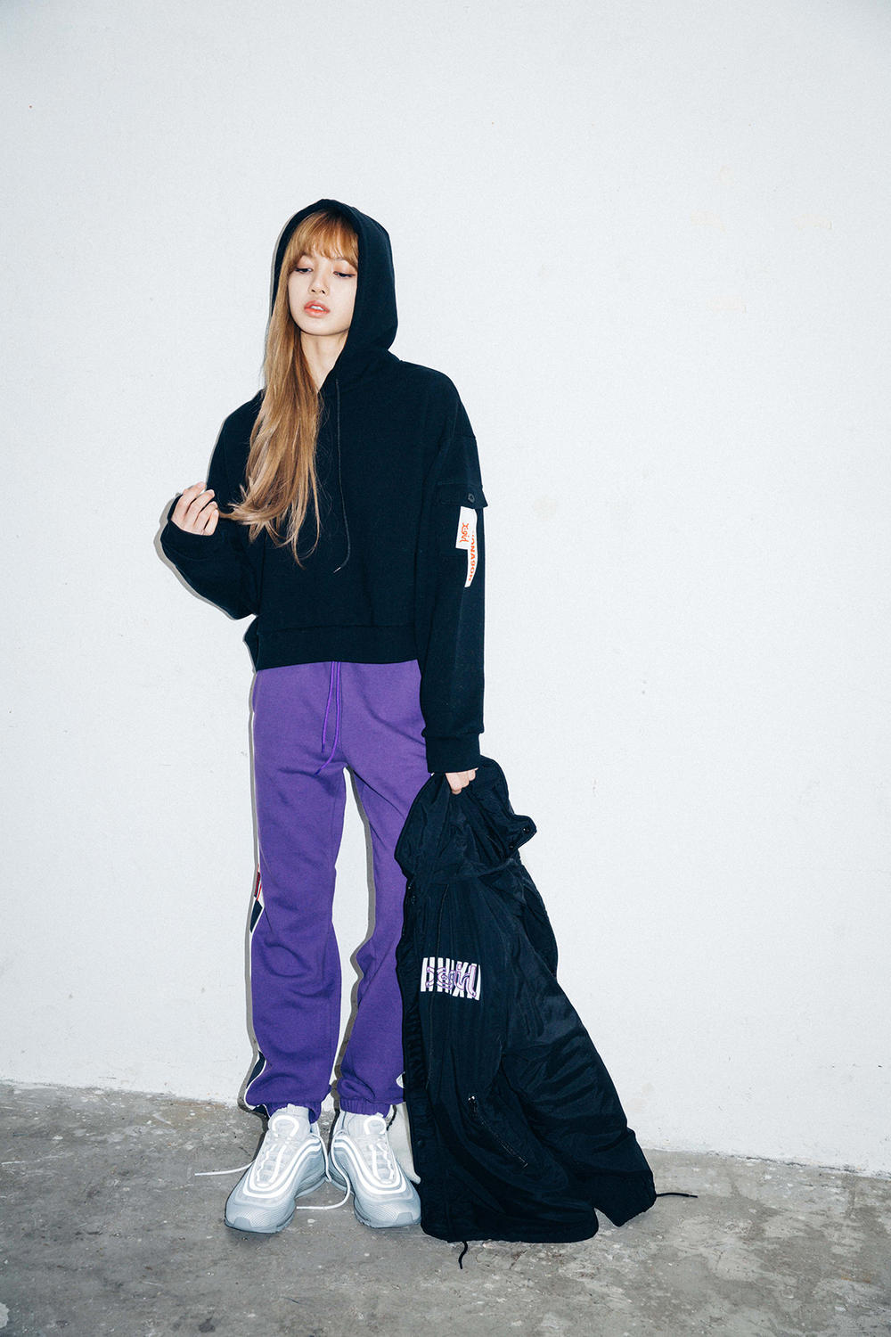 X-Girl Nonagon Blackpink Lisa Campaign Collaboration K-Pop Black Hoodie Purple Sweat Pants