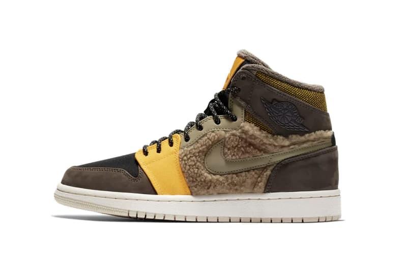 938b5e74cf7bc Nike Air Jordan 1 Flight Utility Release Sneaker Sherpa Fleece Shoe  Panelling