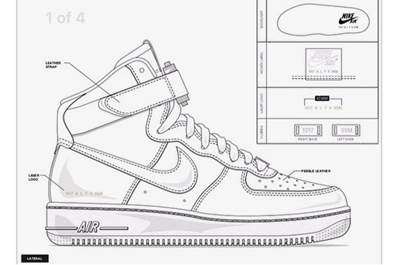 ALYX Matthew Williams Nike Air Force 1 Hi White Black