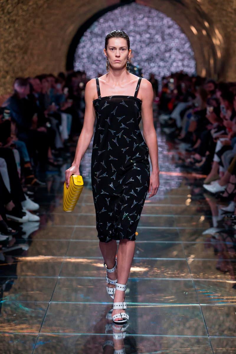 Balenciaga Spring Summer 2019 Show Collection Paris Fashion Week Eiffel Tower Print Dress Black