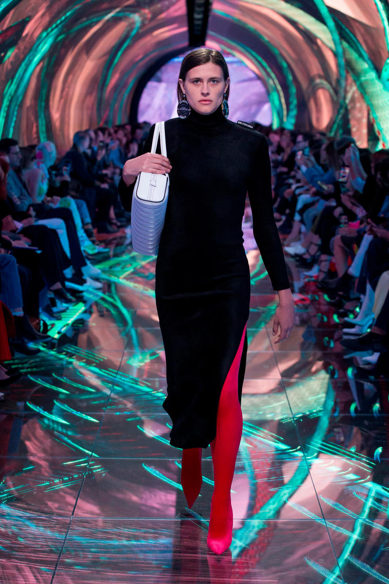 Balenciaga Spring Summer 2019 Show Collection Paris Fashion Week Dress Black Knife Boots Pink