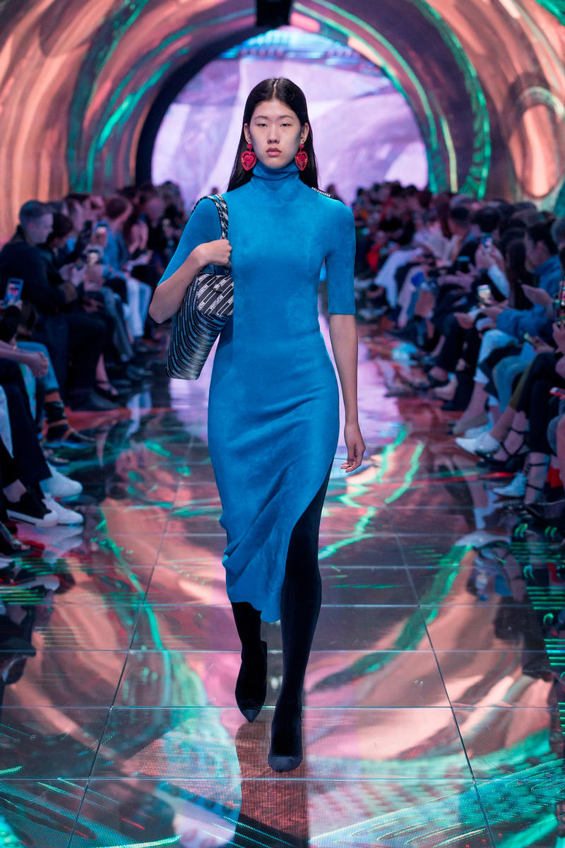 Balenciaga Spring Summer 2019 Show Collection Paris Fashion Week Dress Blue