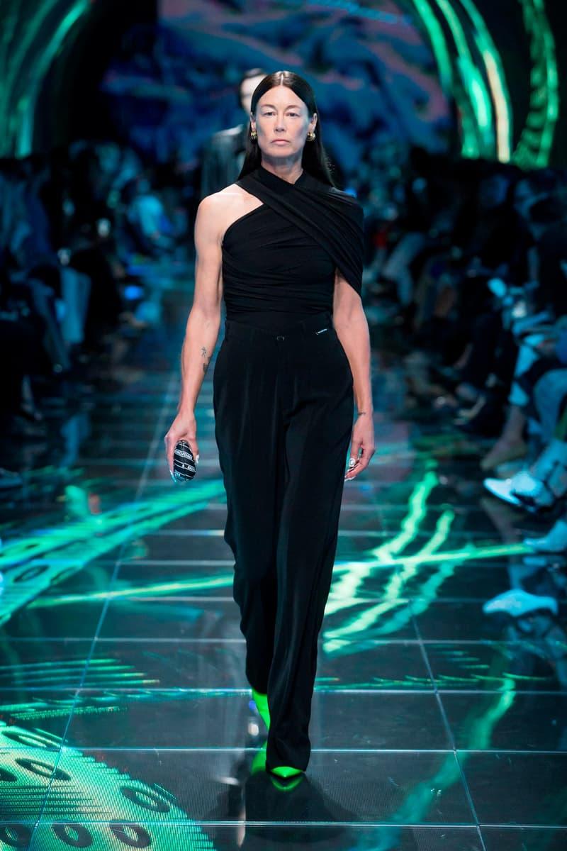 Balenciaga Spring Summer 2019 Show Collection Paris Fashion Week Wrap Top Trouser Black Heels Green