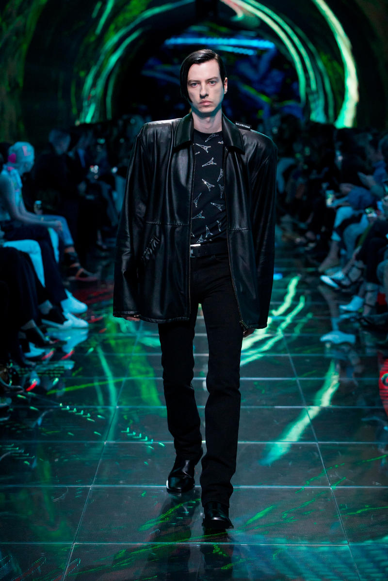 Balenciaga Spring Summer 2019 Show Collection Paris Fashion Week Leather Jacket Top Pants Black