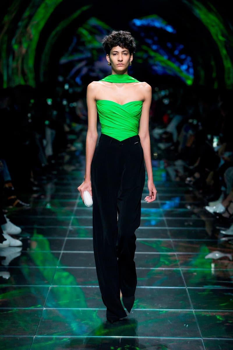 Balenciaga Spring Summer 2019 Show Collection Paris Fashion Week Wrap Top Green Trousers Black