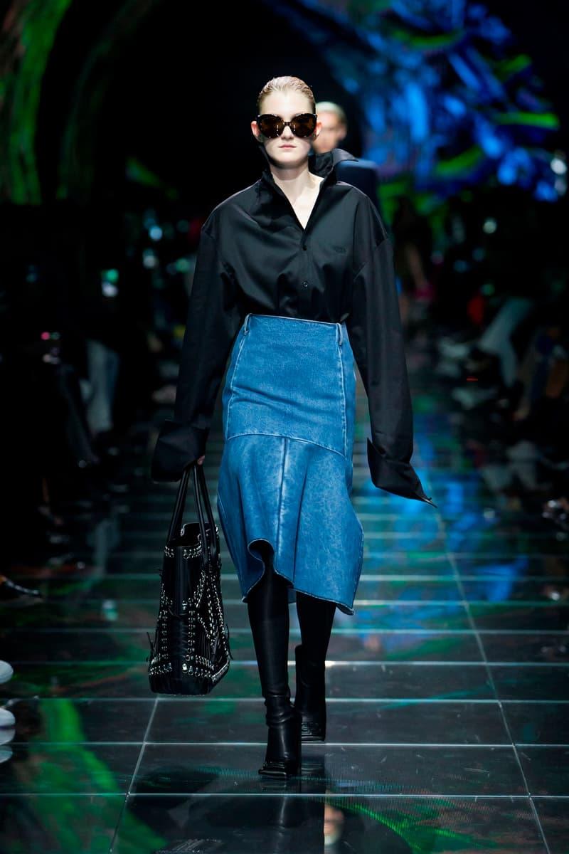 Balenciaga Spring Summer 2019 Show Collection Paris Fashion Week Top Black Skirt Blue