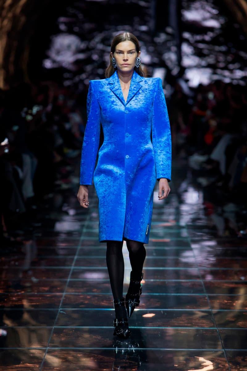 Balenciaga Spring Summer 2019 Show Collection Paris Fashion Week Blazer Blue Knife Boots Black