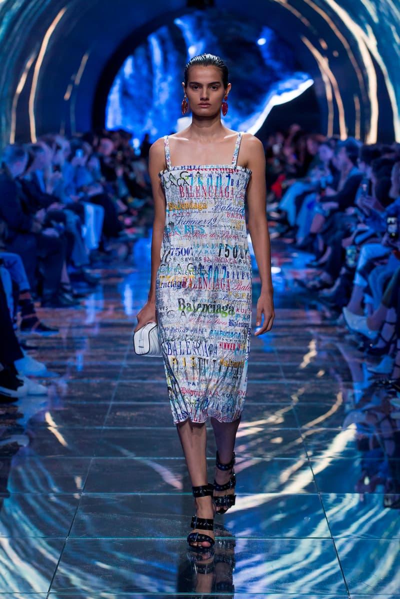 Balenciaga Spring Summer 2019 Show Collection Paris Fashion Week Logo Dress White Blue
