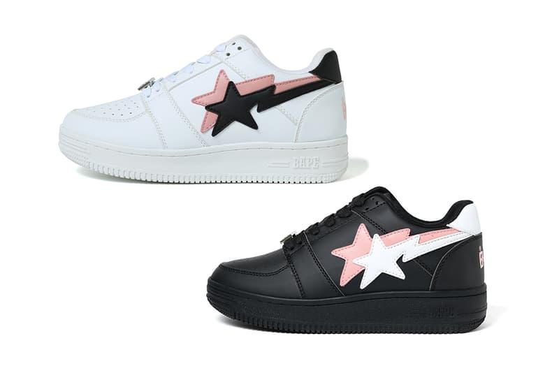Double BAPE STA Low Pink/Black/White Release Date Information Sneaker Shoe Footwear