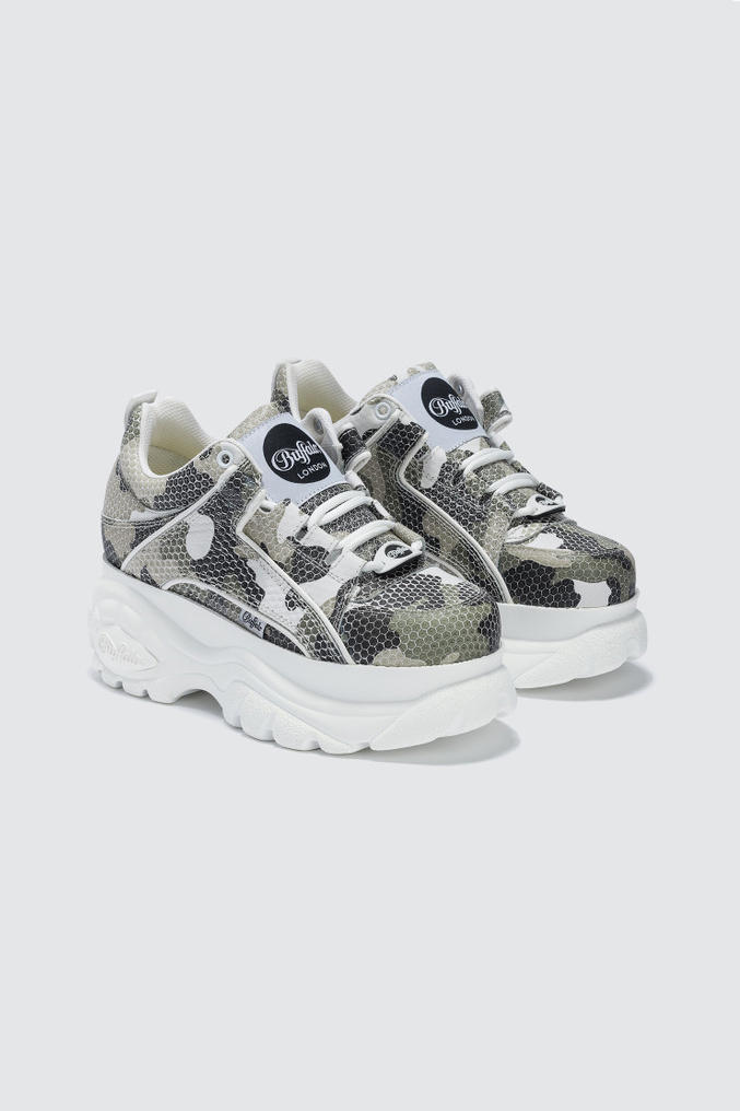Buffalo London Camouflage Platform Sneakers White