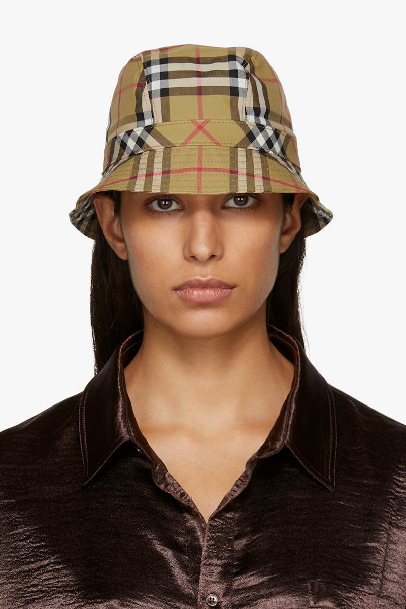 Where to Buy Burberry Beige Check Bucket Hat Pattern Accessory Nova Check