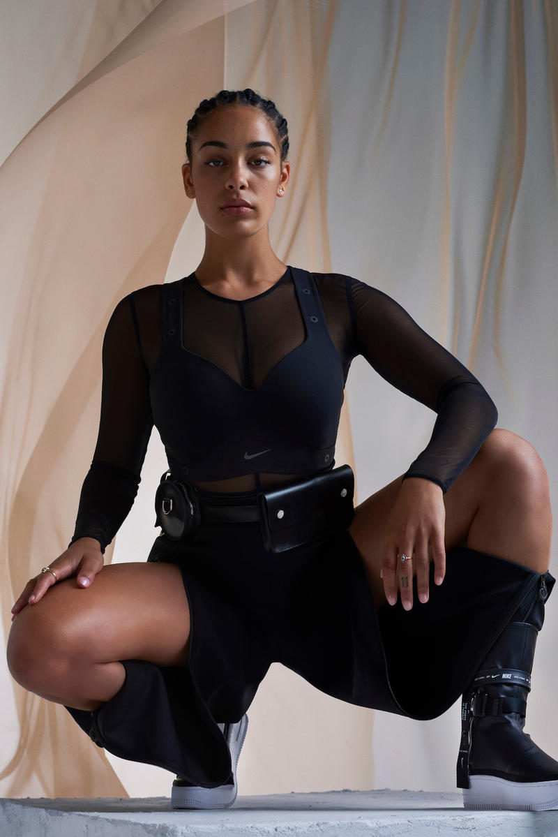 Jorja Smith Nike Campaign Force is Female Air Force 1 Sage High Boot Black