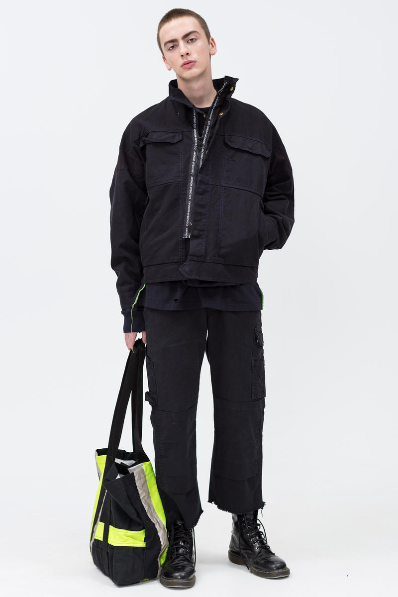 Cheap Monday C/O Capsule Collection Lookbook Coat Work Chinos Shopping Bag Black