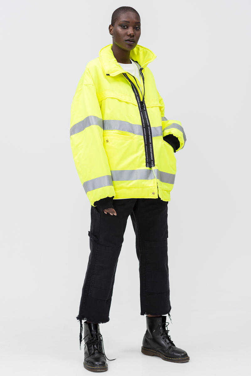 Cheap Monday C/O Capsule Collection Lookbook Coat Yellow Silver Work Chinos Black