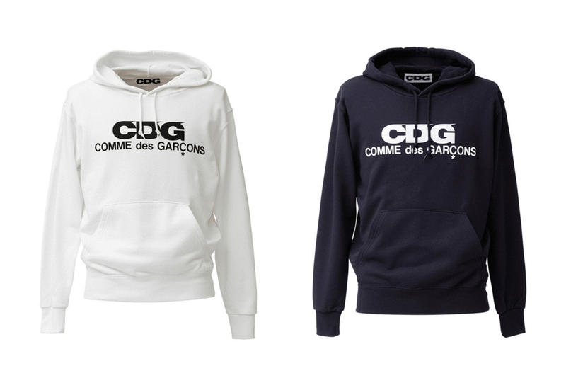 COMME des GARCONS CDG Logo Hoodies White Navy