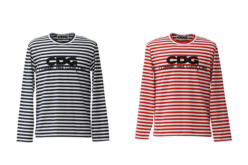 COMME des GARCONS CDG Logo Stripe T-shirts Black Red