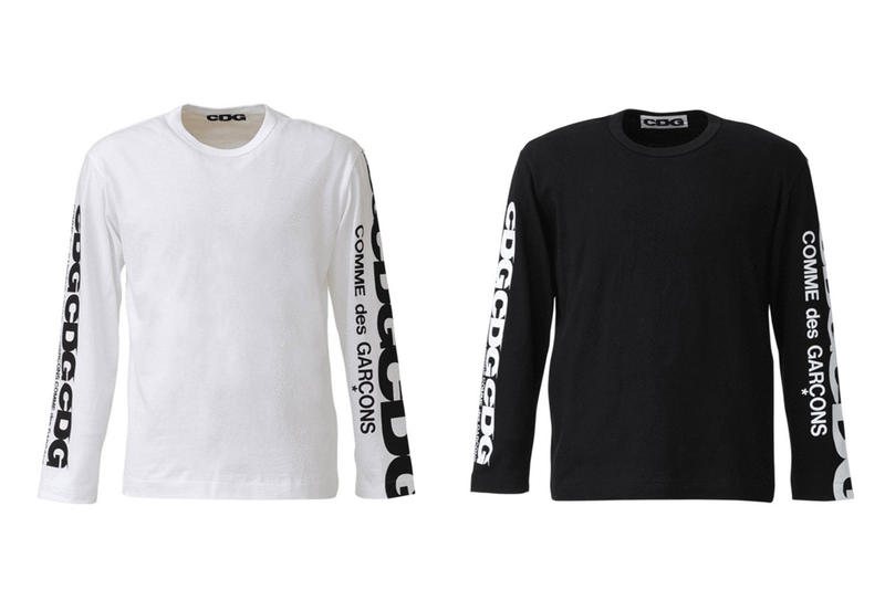 COMME des GARCONS CDG Logo Long Sleeve Shirt White Black