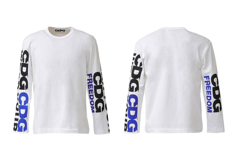 COMME des GARCONS CDG Logo Long Sleeve Shirt White Blue