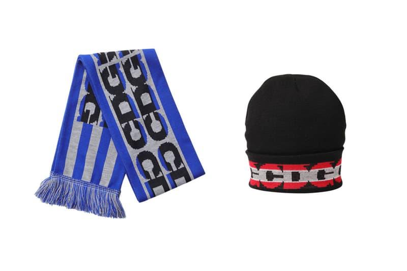 COMME des GARCONS CDG Logo Scarf Blue Hat Black Red