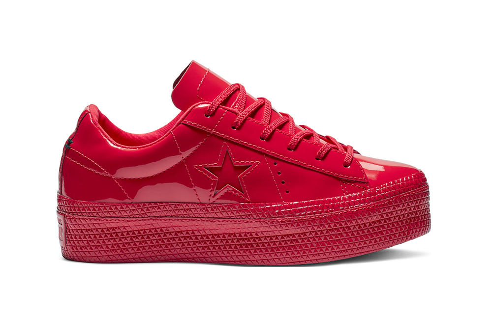 Converse One Star Patent Platform Glossy Leather Sneakers Red White Black