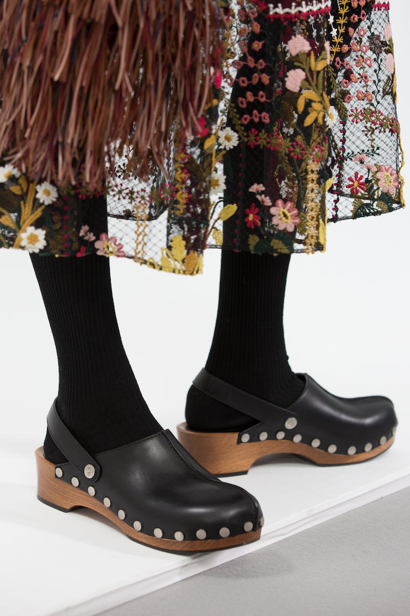 Dior's Fall/Winter 2018 DiorQuake Wooden Clogs Shoe Footwear Leather Wood Pattern FW 18