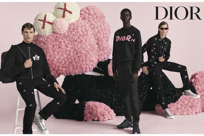 Dior Homme Spring Summer 2019 Campaign Bee Logo Sweatshirt Pants Black KAWS BFF Pink