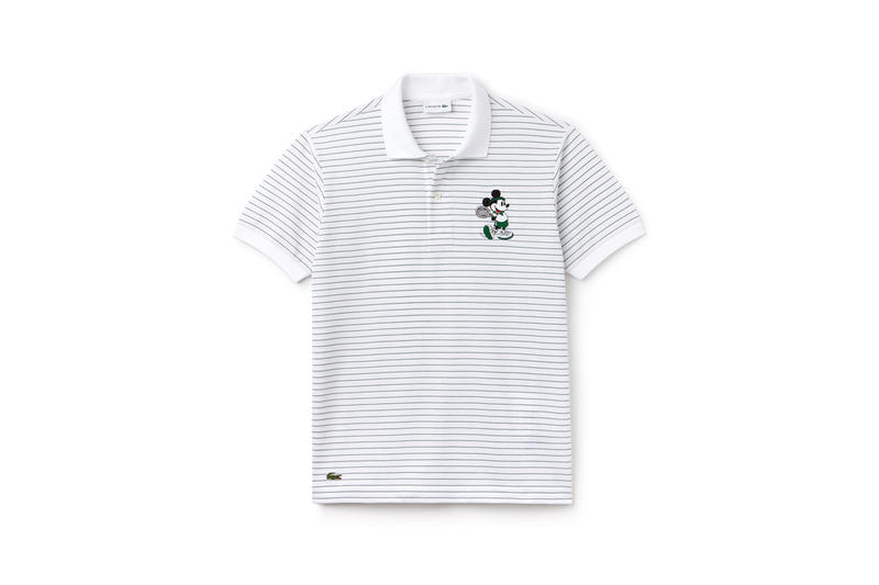 Disney x LACOSTE Capsule Collection Striped Mickey Mouse Collared Shirt Grey White