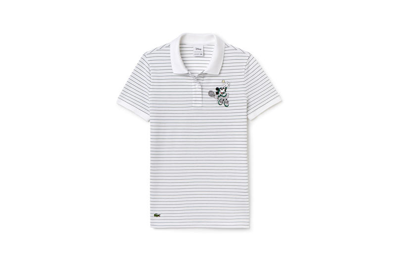 Disney x LACOSTE Capsule Collection Striped Minnie Mouse Collared Shirt White Blue