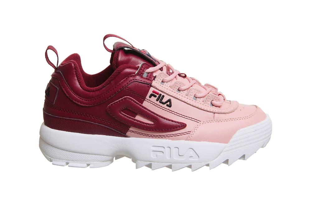 FILA Disruptor 2 Pink Shadow White Split Pastel Two-Tone Sneakers Trainers