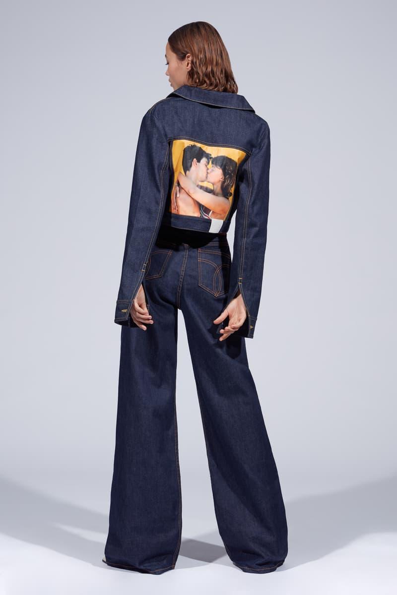 Fiorucci Spring Summer 2019 Collection Lookbook Flared Denim Pants Jacket Blue