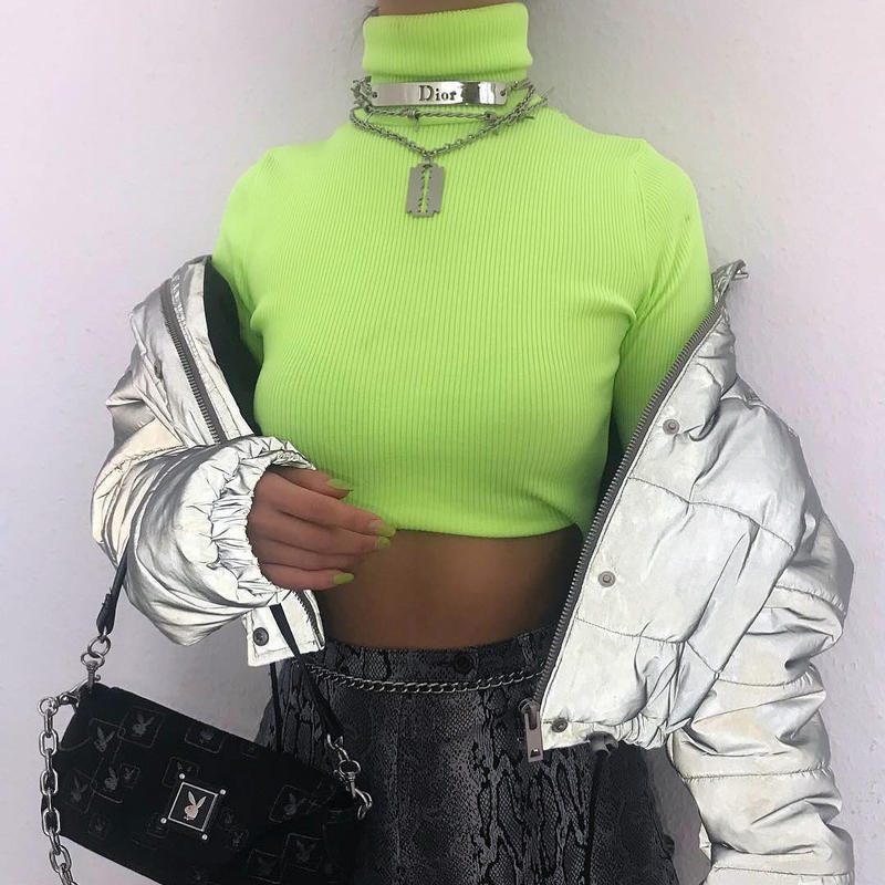 How To Style Neon Trend Outfit Inspiration Goals Zara Neon Green Turtleneck Yeezy I am GIA alexander Wang Prada Miu Miu