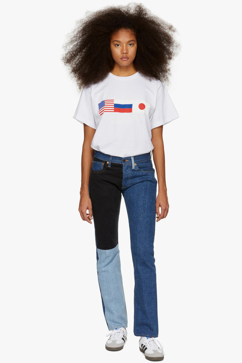 Gosha Rubchinskiy Final Fall Winter 2018 Drop Flag T-Shirt White Levi's Edition Patchwork Jeans Navy