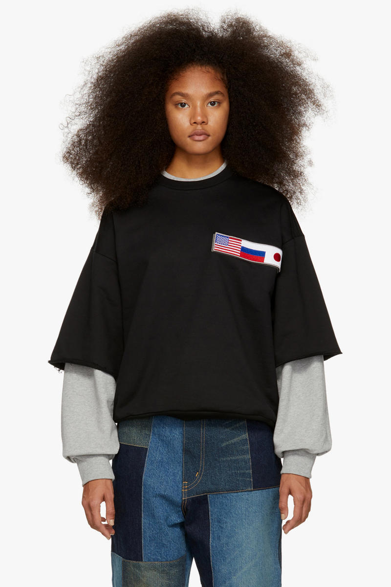 Gosha Rubchinskiy Final Fall Winter 2018 Drop Double Sleeve Flag Sweatshirt Black Grey