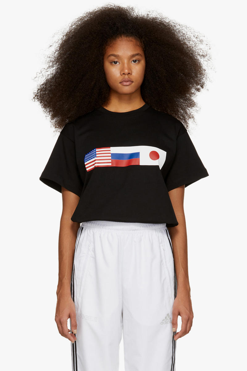 Gosha Rubchinskiy Final Fall Winter 2018 Drop Flag T-shirt Black