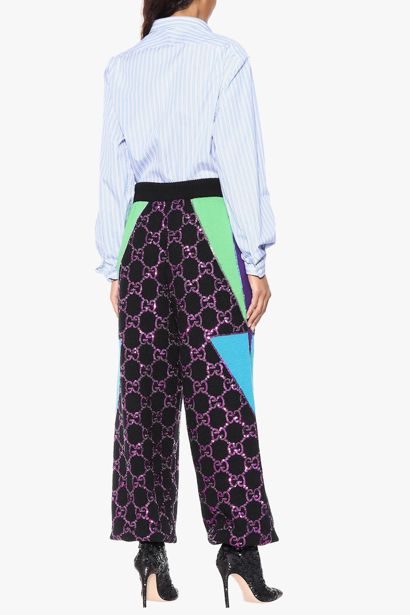 Gucci Monogram Sequin Wool Sweatpants Green Blue Purple Fall/Winter 2018 Collection